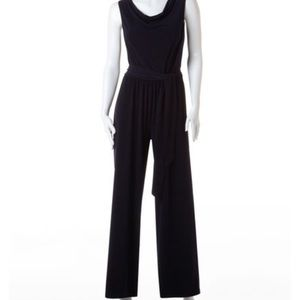 Cleo Navy Blue plunging neck jumpsuit